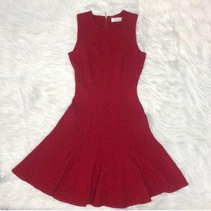 Closet London ASOS red textured flare dress UK 8/2
